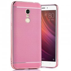 Xiaomi Redmi 4A Excelsior Premium Silicon and leather back cover case Pink