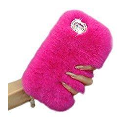 iPhone X Back Case Faux Fur Hair Soft Warm Pink