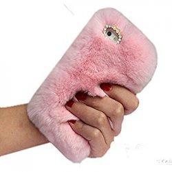 iPhone X Back Case Faux Fur Hair Soft Warm Light Pink