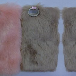 iPhone X Back Case Faux Fur Hair Soft Warm Beige