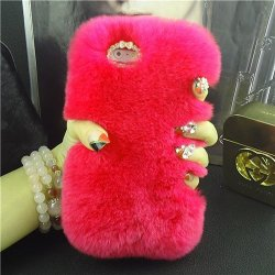 iPhone X Back Case Faux Fur Hair Soft Warm Red