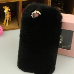iPhone X Back Case Faux Fur Hair Soft Warm Black