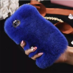 iPhone X Back Case Faux Fur Hair Soft Warm Blue