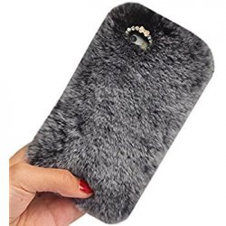 iPhone X Back Case Faux Fur Hair Soft Warm Grey