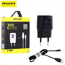 Awei C-900 Dual Port 2.1A Output USB Charger With Cable Black
