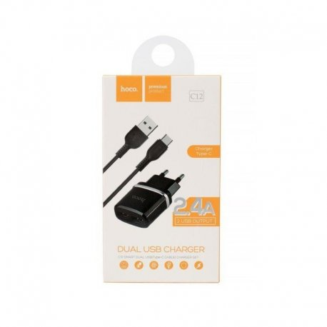 HOCO C12 Travel Charger Set 2.4A 2x USB Type C Black