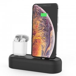 Apple AirPods & iPhone Silicon Data Base AhaStyle 2in1 Dock PT55 Dark Grey