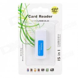 Multifunction 480Mbps USB 2.0 SD / MS / TF / M2 Card Reader - Blue + White