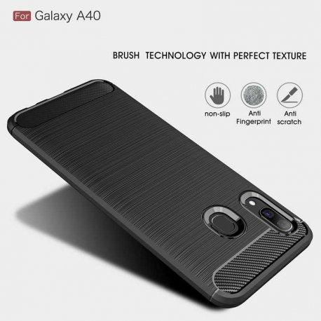Samsung Galaxy A40 A405 Case Carbon Fiber Design TPU Flexible Soft Black