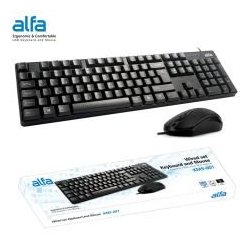 MBaccess Alfa Wired Keyboard+Mouse Set KMS-001 Black (UK/GR)