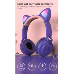 MBaccess ZW-028 Cat Ear Bluetooth 5.0 Headphones LED Blue