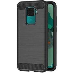 Huawei Mate 30 Lite Case Carbon Fiber Design TPU Flexible Soft Black