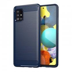 Samsung Galaxy A71 A715 Case Carbon Fiber Design TPU Flexible Soft Blue